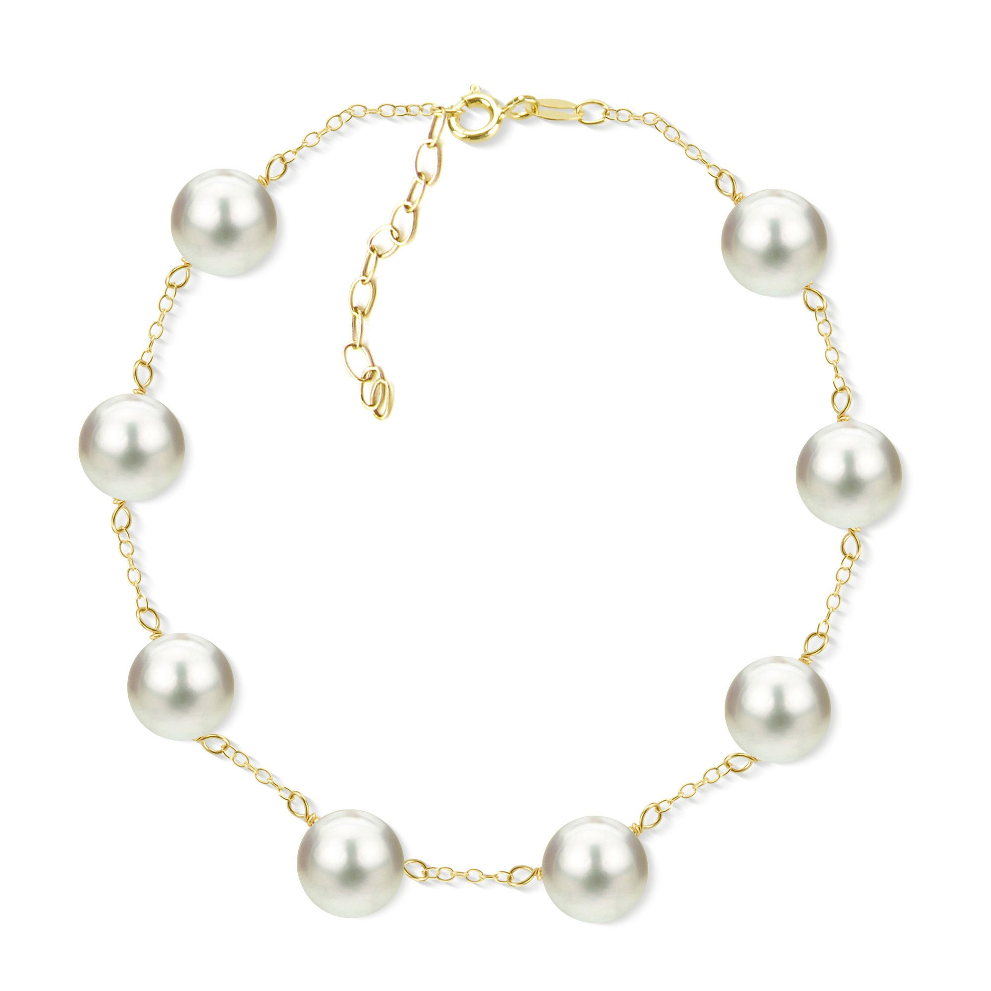 c4e90f2d5810e DaVonna 18k Yellow Gold Plated Silver 8-8.5 mm Freshwater Cultured Tin Cup  Pearl Bracelet 7.5 inch + 1 inch Extension.