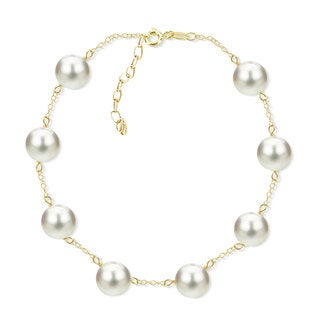 Link to DaVonna 18k Yellow Gold Plated Silver 8-8.5 mm Freshwater Cultured Tin Cup Pearl Bracelet 7.5 inch + 1 inch Extension. Similar Items in Bracelets