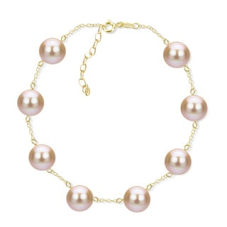 DaVonna 18k Yellow Gold Plated Silver 8-8.5 mm Freshwater Cultured Tin Cup Pearl Bracelet 7.5 inch + 1 inch Extension.