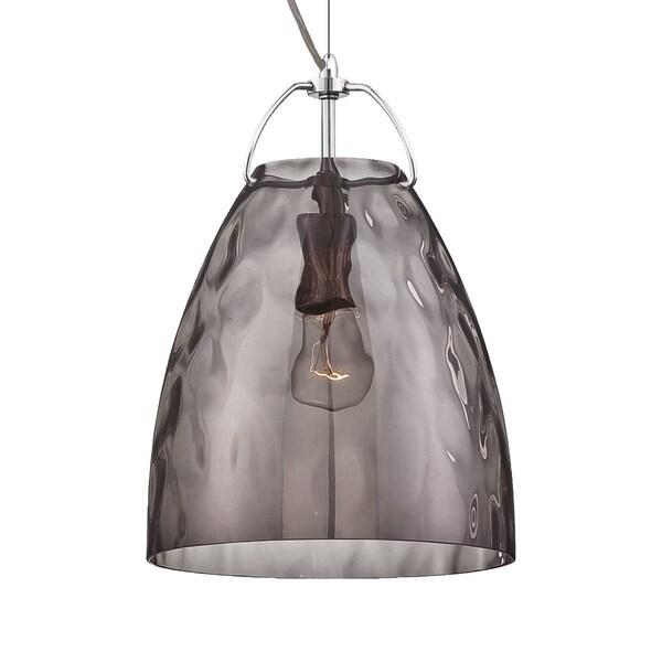 "Eurofase Amero Faceted Blown Glass Light Pendant, Smoke Glass Shade - 22900-029 - 13.5"" high x 9.75"" in diameter"
