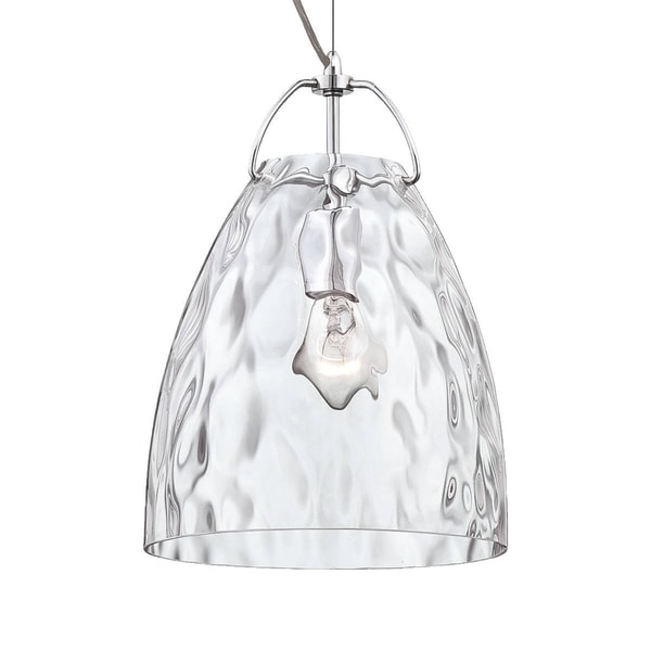 "Eurofase Amero Faceted Blown Glass Light Pendant, Clear Glass Shade - 22900-012 - 13.5"" high x 9.75"" in diameter"