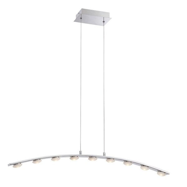 Eurofase Richmond Minimalist Linear Suspended Arc LED Light Pendant, Chrome Finish - 28086-017