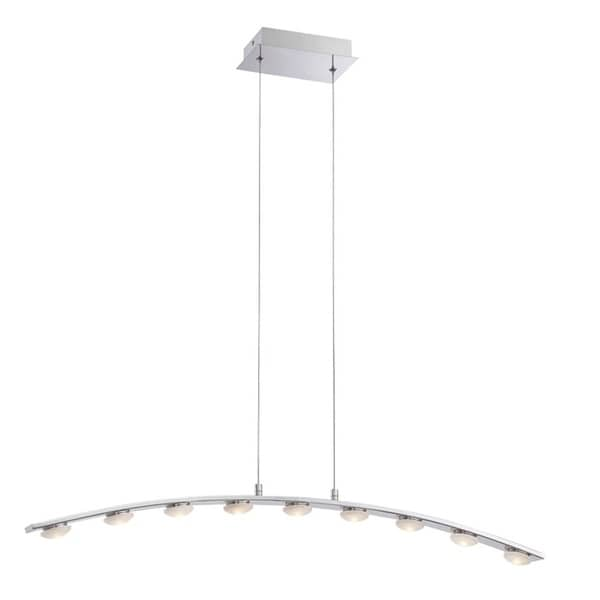 Eurofase Richmond Minimalist Linear Suspended Arc LED Light Pendant, Chrome Finish - 28086-017