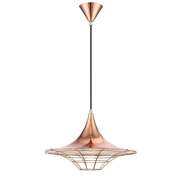 Eurofase Windsor Metal Cage Diffuser Light Pendant, Copper Finish and Fabric Power Cord - 30015-029