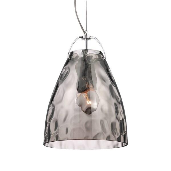 Eurofase Amero Faceted Blown Glass Light Pendant, Smoke Glass Shade - 22899-026