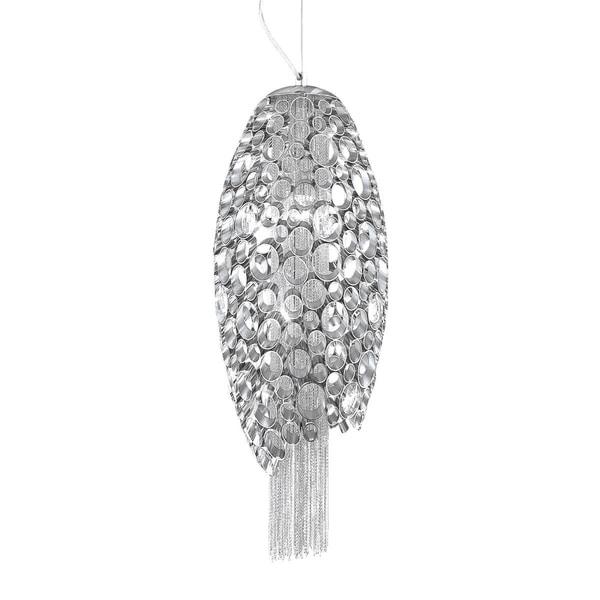 "Eurofase Cameo Honeycomb 2-Light Pendant, Metallic Chain Curtain, Nickel Plated Finish - 20407-018 - 9.75"" in diameter"