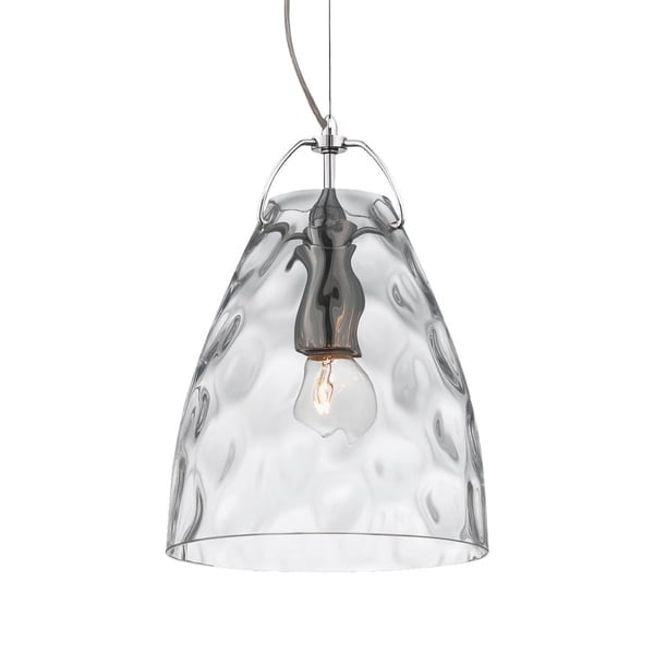 "Eurofase Amero Faceted Blown Glass Light Pendant, Clear Glass Shade - 22899-019 - 10.25"" high x 7"" in diameter"
