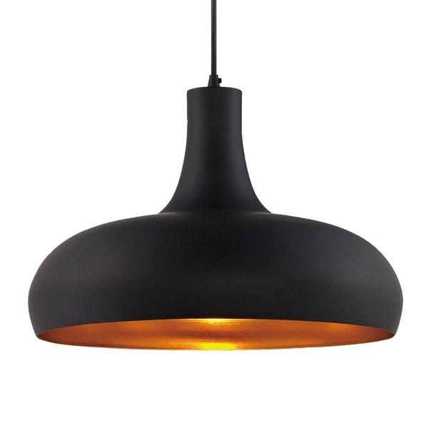 Eurofase Una Formed Metal Light Pendant, Black and Textured Antique Gold - 25687-026