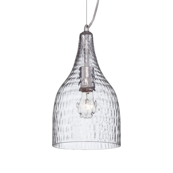 "Eurofase Altima Faceted Blown Glass Light Pendant, Clear Glass Shade - 22903-013 - 13.25"" high x 7.25"" in diameter"