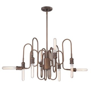 Eurofase Briggs Piping 8-Light Chandelier, Aged Retouched Bronze Finish, Filament Accent Lighting - 27999-011