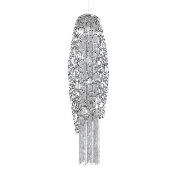 Eurofase Cameo Honeycomb 4-Light Pendant, Metallic Chain Curtain, Nickel Plated Finish - 20408-015
