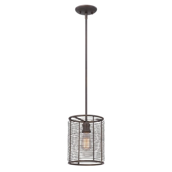 Eurofase Terra Industrial Drums Light Pendant, Weathered Bronze Finish, 1 Edison Light Bulb, 8 Inches in Diameter - 28062-011