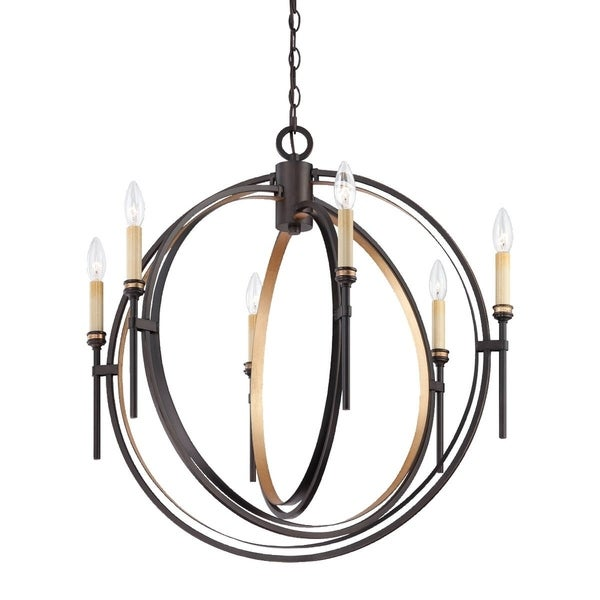 Eurofase Infinity Candle Style Orb 6-Light Chandelier, Oil Rubbed Bronze and Gold Leaf Framework - 25647-013