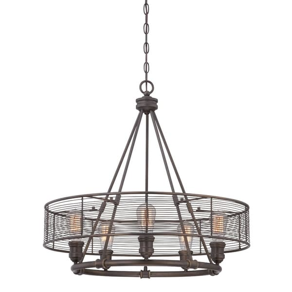 Eurofase Terra Industrial Drums Chandelier, Weathered Bronze Finish, 1 Edison Light Bulb, 26 Inches in Diameter - 28065-012