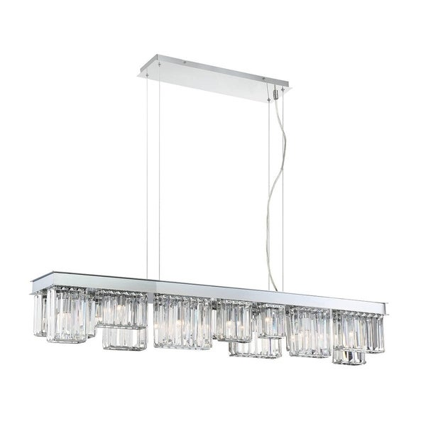 Eurofase Lumino Inset Clear Glass Prism Linear 14-Light Chandelier, Polished Chrome Finish - 29080-014