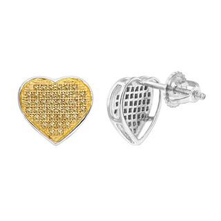 Luxurman Yellow Diamond Heart Earrings 0.22ct 10K Gold