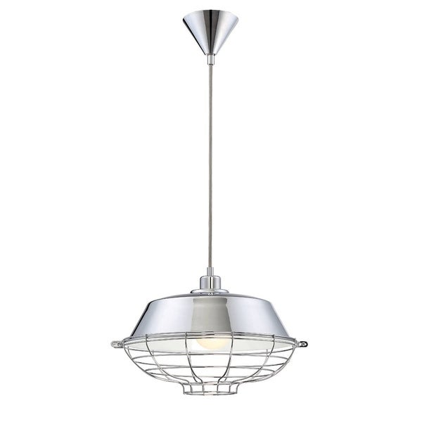 """Eurofase London Metal Cage Diffuser Light Pendant, Chrome Finish and Fabric Power Cord - 30012-011 - 10"""" high x 14"""" in diameter"""