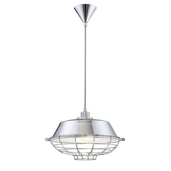 Eurofase London Metal Cage Diffuser Light Pendant, Chrome Finish and Fabric Power Cord - 30012-011