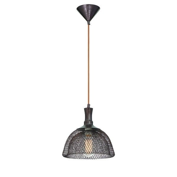 """Eurofase Filo Meshed Metal Light Pendant with Double Layer Wire, Bronze Finish - 30009-028 - 10.5"""" high x 10"""" in diameter"""