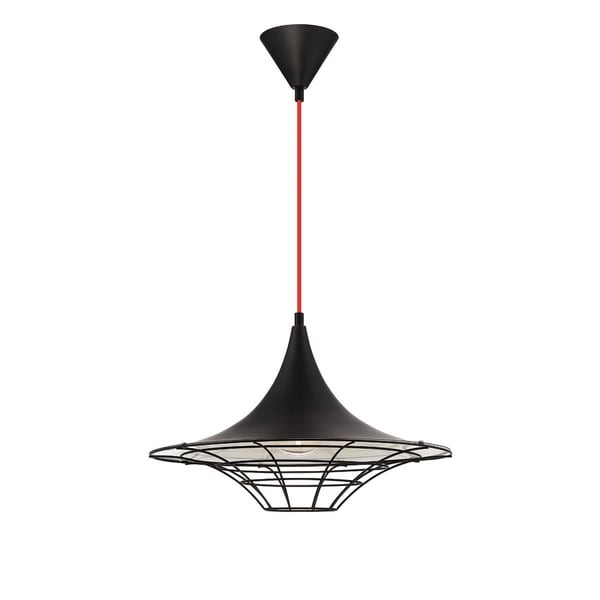 Eurofase Windsor Metal Cage Diffuser Light Pendant, Black Finish and Fabric Power Cord - 30015-036
