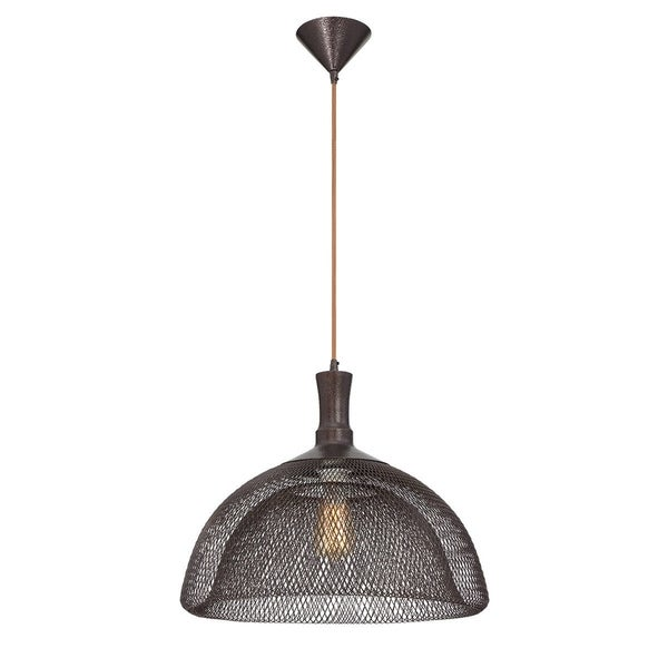 "Eurofase Filo Meshed Metal Light Pendant with Double Layer Wire, Bronze Finish - 30011-021 - 15"" high x 18"" in diameter"