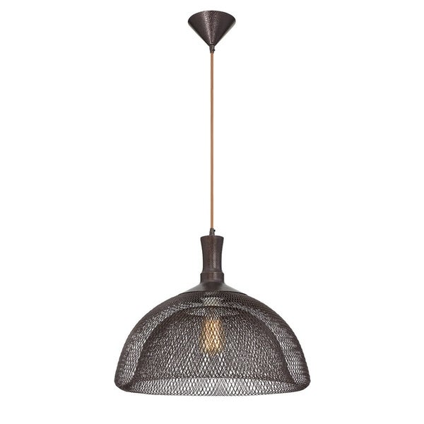 Eurofase Filo Meshed Metal Light Pendant with Double Layer Wire, Bronze Finish - 30011-021