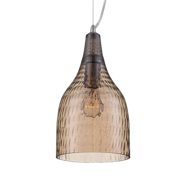 "Eurofase Altima Faceted Blown Glass Light Pendant, Amber Glass Shade - 22903-037 - 13.25"" high x 7.25"" in diameter"