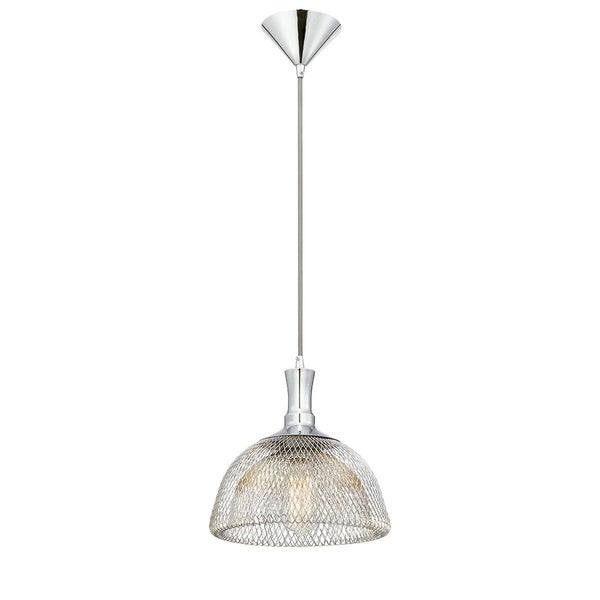 """Eurofase Filo Meshed Metal Light Pendant with Double Layer Wire, Chrome Finish - 30009-011 - 10.5"""" high x 10"""" in diameter"""