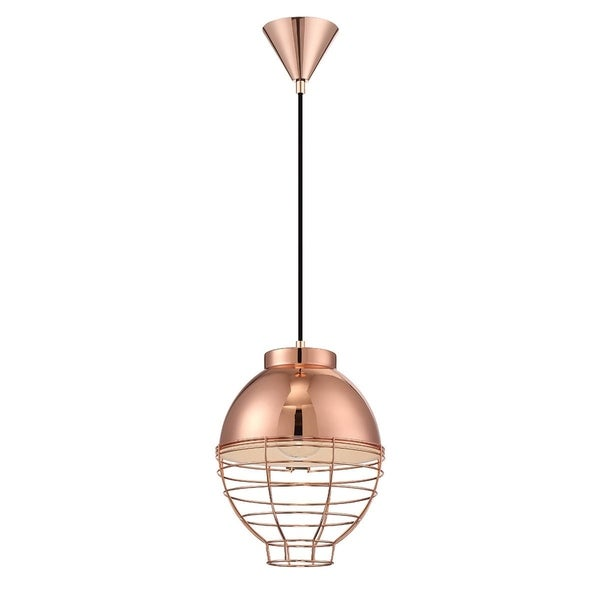 Eurofase Brampton Metal Cage Diffuser Light Pendant, Copper Finish and Fabric Power Cord - 30013-025