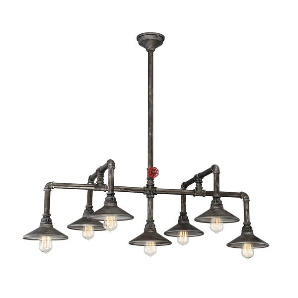 Eurofase Zinco Industrial Customizable Oval Chandelier, Decorative Valve Handle and Accessories, Aged Silver Finish - 30031-012