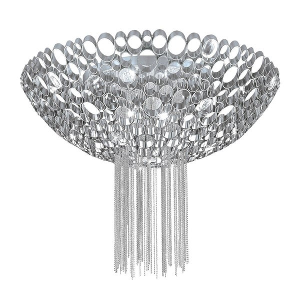 Eurofase Cameo Honeycomb Convertible 3-Light Pendant, Metallic Chain Curtain, Nickel Plated Finish - 20405-014