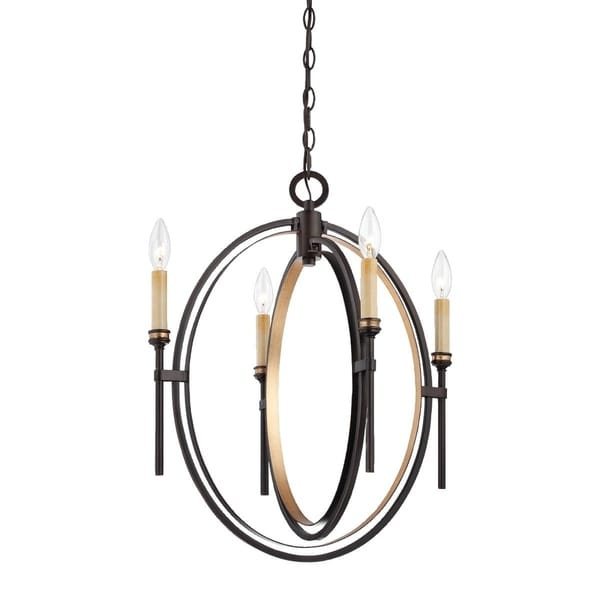 Eurofase Infinity Candle Style Orb 4-Light Chandelier, Oil Rubbed Bronze and Gold Leaf Framework - 25646-016