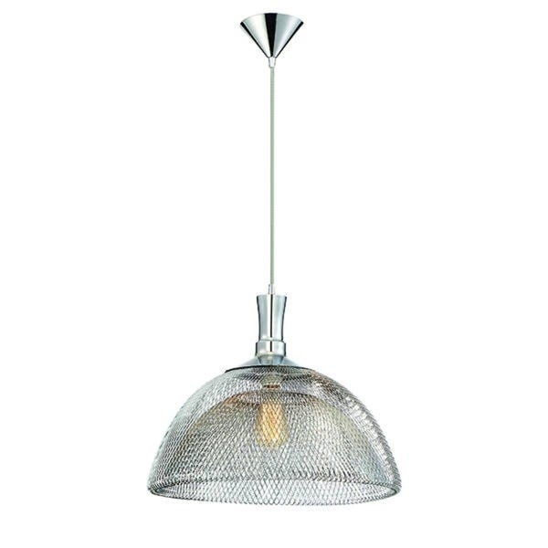 Eurofase Filo Meshed Metal Light Pendant with Double Layer Wire, Chrome Finish - 30011-014