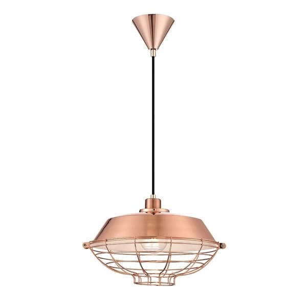 """Eurofase London Metal Cage Diffuser Light Pendant, Copper Finish and Fabric Power Cord - 30012-028 - 10"""" high x 14"""" in diameter"""