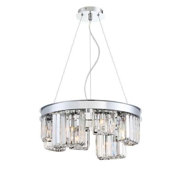 "Eurofase Lumino Inset Clear Glass Prism 8-Light Chandelier, Polished Chrome Finish - 29078-011 - 7.5"" high x 18.75"" in diameter"