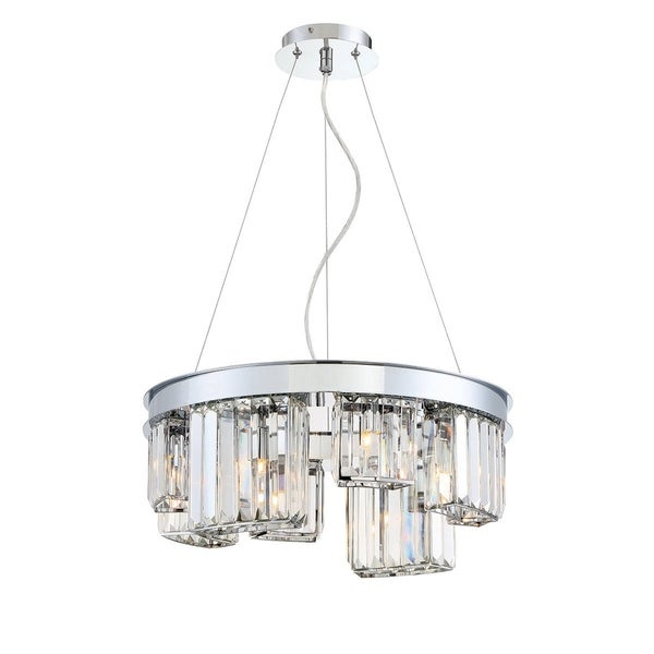 Eurofase Lumino Inset Clear Glass Prism 8-Light Chandelier, Polished Chrome Finish - 29078-011