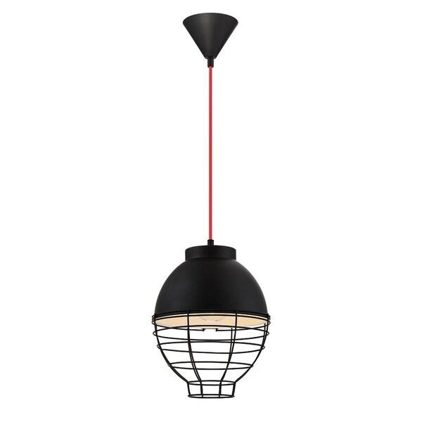 Eurofase Brampton Metal Cage Diffuser Light Pendant, Black Finish and Fabric Power Cord - 30013-032