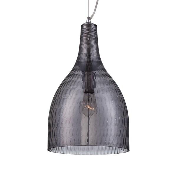 "Eurofase Altima Faceted Blown Glass Light Pendant, Smoke Glass Shade - 22904-027 - 16.75"" high x 10"" in diameter"