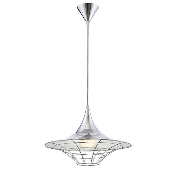 Eurofase Windsor Metal Cage Diffuser Light Pendant, Chrome Finish and Fabric Power Cord - 30015-012