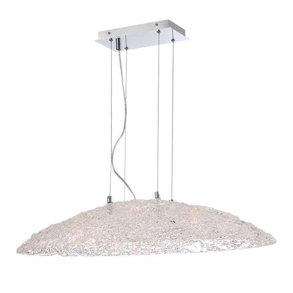 Eurofase Caramico Hand Crafted Drizzled Glass Oval Light Pendant, Chrome Finish, 6 G9 Light Bulbs, 30.75 Inches Long - 28144-014