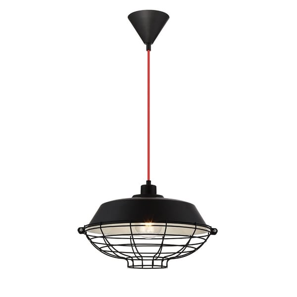 Eurofase London Metal Cage Diffuser Light Pendant, Black Finish and Fabric Power Cord - 30012-035