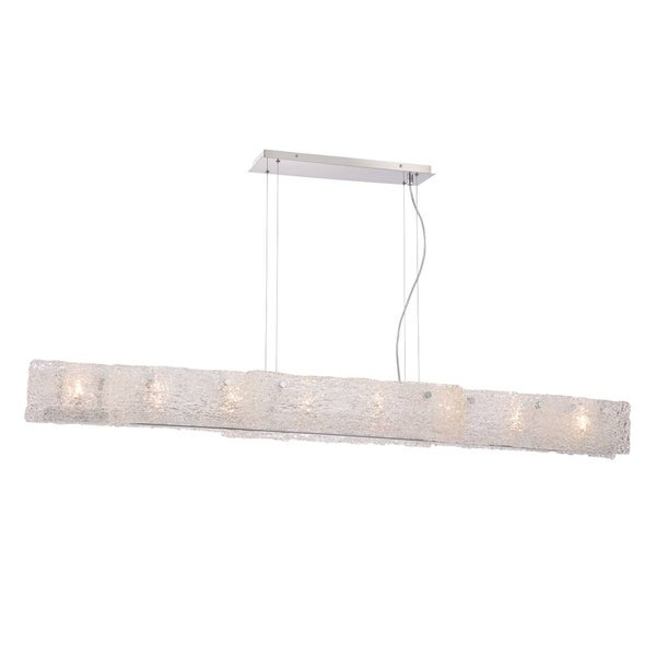 Eurofase Caramico Hand Crafted Drizzled Glass Linear 8-Light Pendant, Chrome Finish - 28143-017