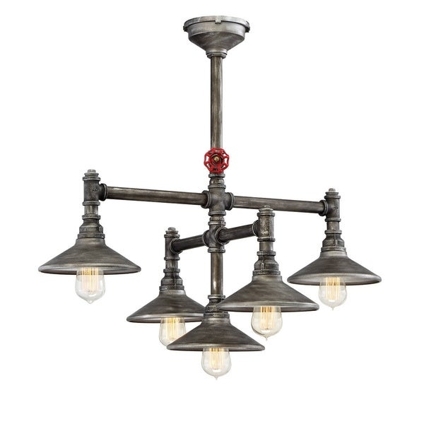 Eurofase Zinco Industrial Customizable Chandelier, Decorative Valve Handle and Accessories, Aged Silver Finish - 30030-015