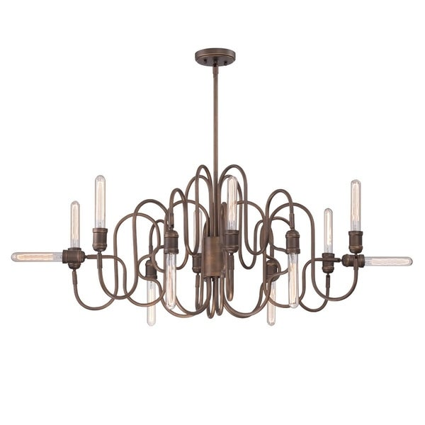 Eurofase Briggs Piping Oval Chandelier, Aged Retouched Bronze Finish, Filament Accent Lighting - 27998-014