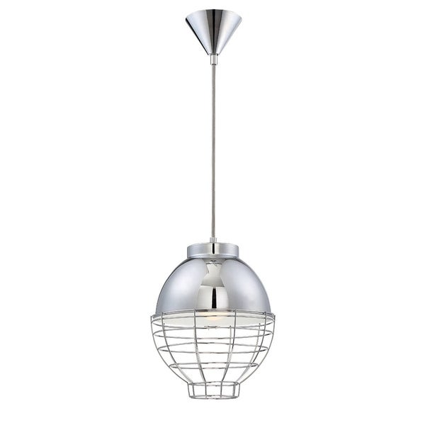 Eurofase Brampton Metal Cage Diffuser Light Pendant, Chrome Finish and Fabric Power Cord - 30013-018