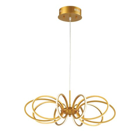 "Eurofase Tela Curved Face-Out LED 10 Rings Light Pendant, Gold Aluminum Finish - 30039-018 - 6.25"" high x 25"" in diameter"