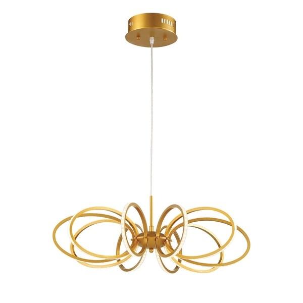 "Eurofase Tela Curved Face-Out LED 10 Rings Light Pendant, Gold Aluminum Finish - 30039-018 - 6.25"" high x 25"" in diameter"