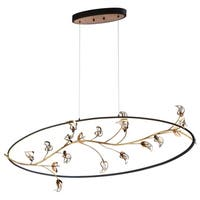 Eurofase Peralta LED Ring Oval Chandelier, Bronze Ring Suspended with Antique Gold Leaf Branches and Crystal Details - 31393-010