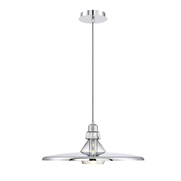 Eurofase Legend Polished Metal Large Light Pendant with Crystal Detail, Chrome with White Finishes - 31866-019