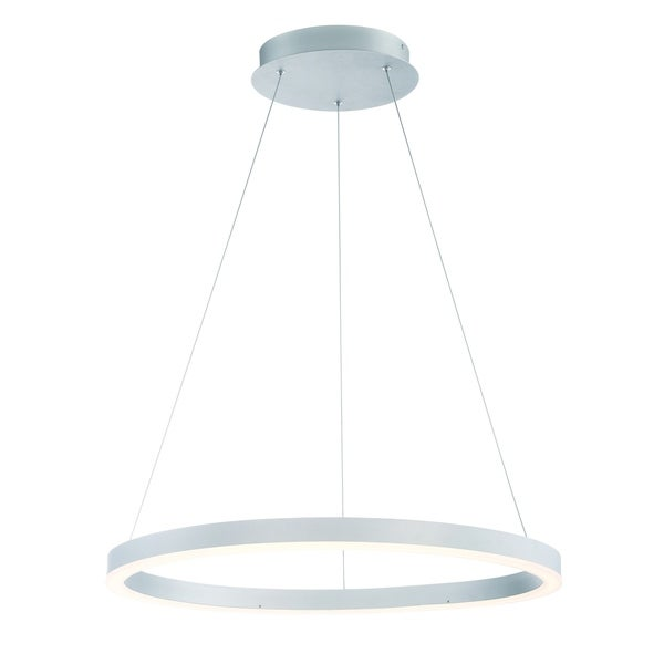 Eurofase Spunto Oversized LED Ring Chandelier, Aluminum Finish with Opal Diffused Shade, 27.5 Inches in Diameter - 31471-015